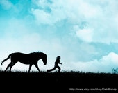 Horse Girl Running Joy Freedom Silhouette Sky- Teal Black- 11x14 Photograph - Home Decor Fine Art Print