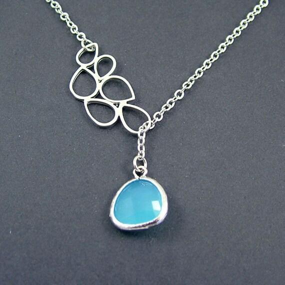 Opal Blue Lariat Necklace, Blue Necklace Glass Teardrop