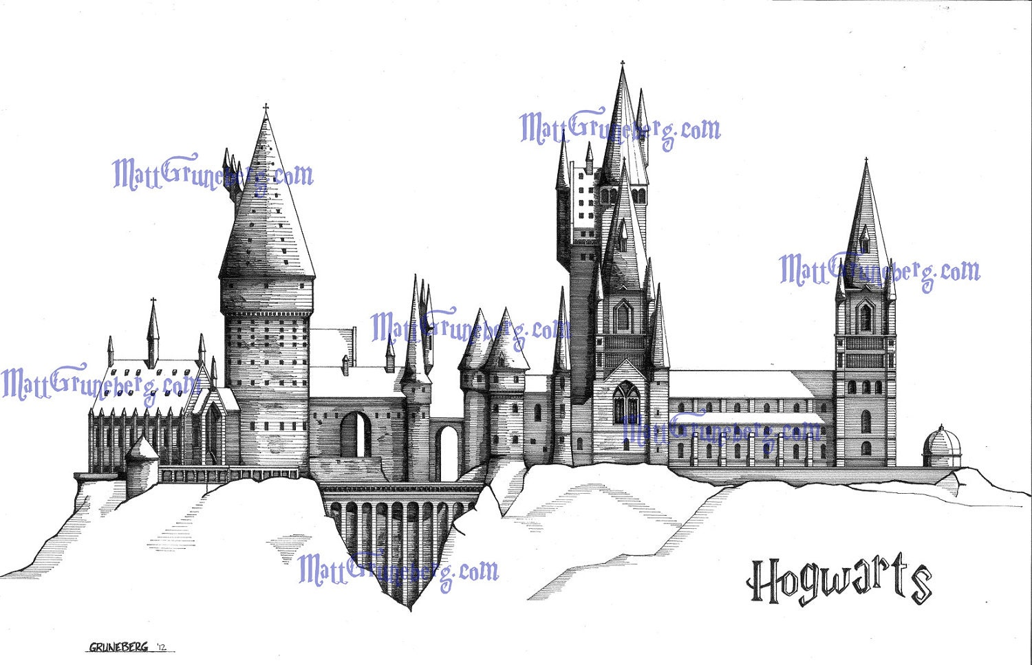 Hogwarts School Of Witchcraft And on 41 orthographic drawings
