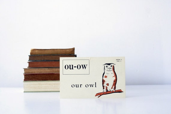 1955 O is for Owl Vintage Flash Card - Large Size - Kenworthy Visual Aid Picture Phonic Card