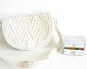 Structured Purse Sale Satchel Purse Vintage White Leather Woven Shoulder Bag. Messenger Bag. Two Flaps Handbag Music Fall Autumn Spring