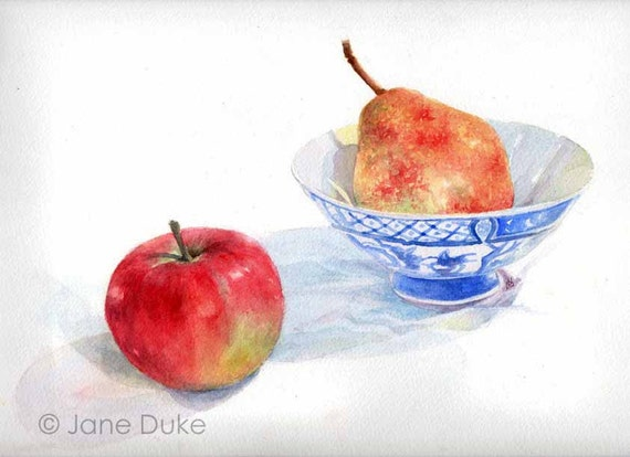 Still Life Painting Apple, Pear and Bowl watercolour original unframed
