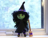PATTERN Instant Download Zora The Witch Crochet Halloween Amigurumi doll Hat Broom And Cauldron