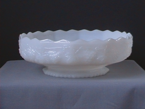 RESERVED for STELLA Anchor Hocking, Fire-King, Milk Glass, Grapes Bowl