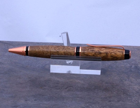 Hand turned double twist copper Cigar pen with a Mango Body.
