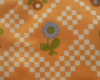 Vintage Apricot Checkers and Posies Scarf  ECS