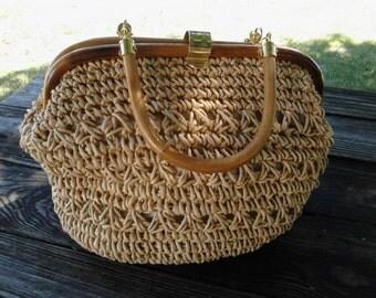 Vintage Crocheted Jute Handbag   ECS