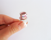 Little Pink Teacup Ring with Floral Detail