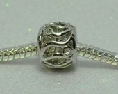 Clear Crystal Filigree  Spacer Bead  For European Style Charm Bracelet - April Birthstone
