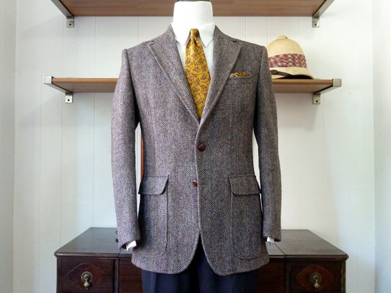 Vintage Brooks Brothers BROOKSGATE Reddish Brown Herringbone Tweed FITTED Jacket. 40 R. Made in USA.