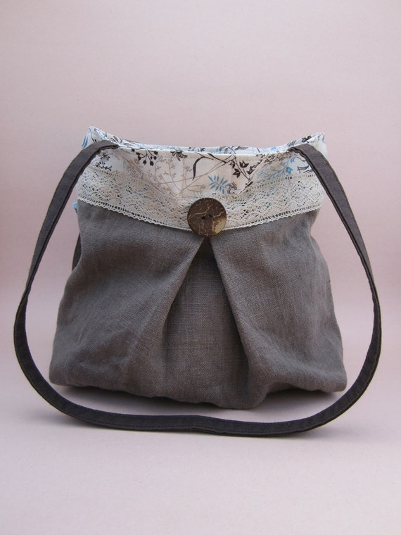 Grey Linen Purse with Blue and Brown Branches Natural Lace and Coconut Button