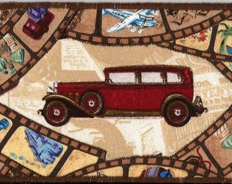 Travelin in slow motion fabric postcard