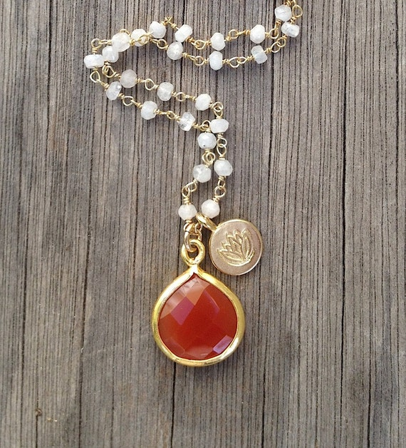 RESERVED  Bezel Set Carnelian and Lotus Flower Charm Necklace
