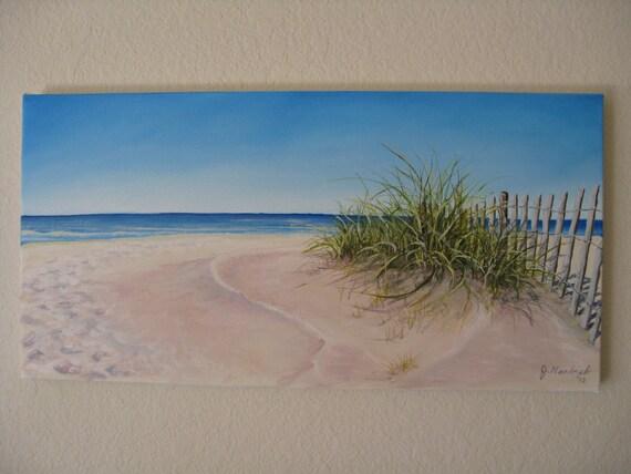 Original 12x24 Beach Painting on Canvas by J. Mandrick
