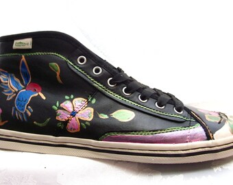 Custom painted eco certified sneakers womens size 9 and a half hummingbird ON SALE