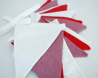 Bunting / Fabric Flag Banner / Pennant Nursery / Porch / Patio Decor / Photo Prop / Purple / Red / White