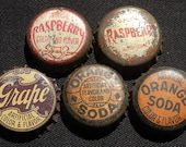 5 Vintage Soda Bottle Caps with cork insert collection, Grape, Orange, Raspberry