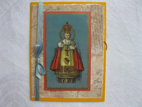 Infant of Prague Handmade Card Catholic All Occasion Greeting Yellow and Blue