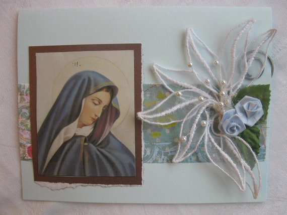 Catholic Mother of Sorrows Handmade Card Light Blue Condolence