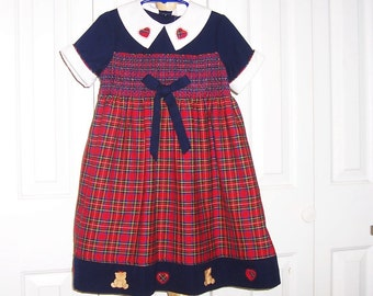 Size 5 - Vintage b.t. Kids Girls'  Dress - Red Plaid - Smocked - Hearts - Bears