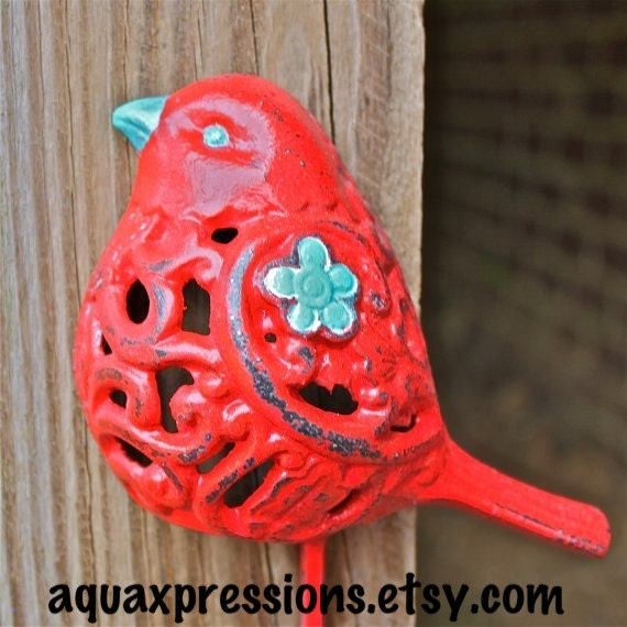Items Similar To Bird Wall Hook Red Aqua Blue Accent