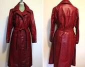 Vintage 1960s - 70s Deep Red Long Leather Wrap Jacket / Coat - Size L