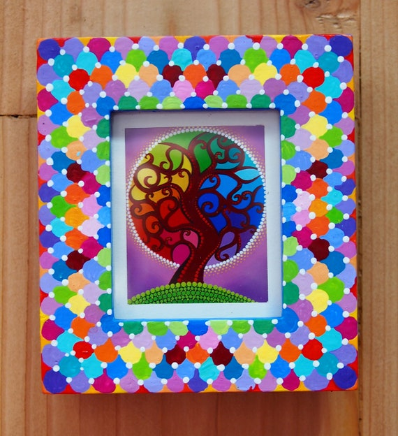 Eco friendly, colourful hand painted photo frame with print of a Rainbow Orb Tree