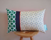 Preppy Lace Cushion Cover - A geometric pattern in green, lemon and navy