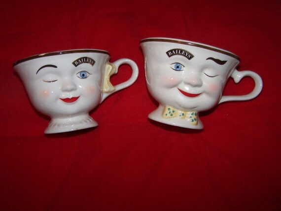 VINTAGE Baileys His and Hers wink cups mugs entertaining decor