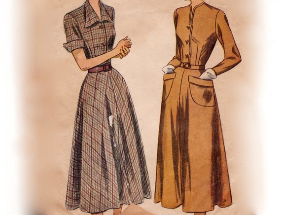 Vintage 1940s Sewing Pattern - Dart Fitted Dress with Softly Flared Skirt - 1948 Simplicity 2617, Bust 36