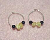Amber Hematite Hoop Earrings