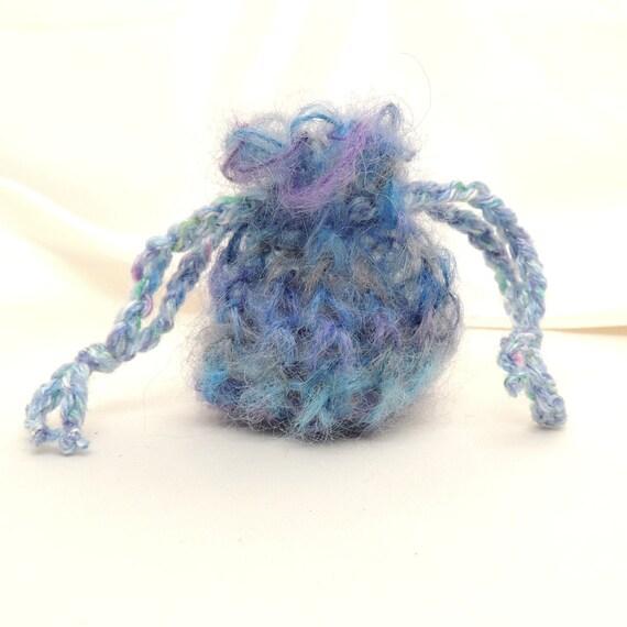Blue Mohair Loom Knit Mini Pouch