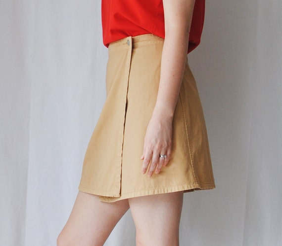 90s Mini Skirt -Beige Wrap skirt - High waist mini skirt -Medium/M