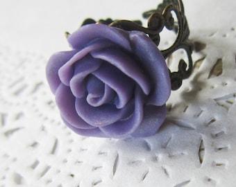 Violet Flower Cameo Ring - Filigree purple  rose Cabochon