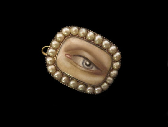RESERVED for Susan- First Payment-Victorian Pearl Locket w Miniature Lover's Eye Painted in 2012