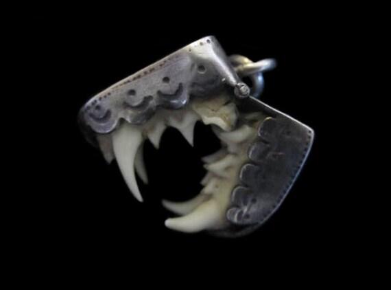 Vintage Teeth Locket (Opening) Set In Silver-Fierce & Odd Charm, Pendant