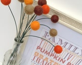 Thanksgiving/Fall Decoration - Billy Ball Flowers/ set of 12, 18 inches/ Felt Balls