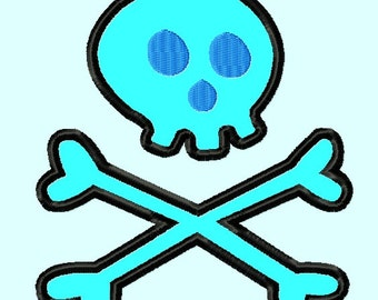 Simple Skull crossbones APPLIQUE Embroidery Designs 3 sizes    INSTANT DOWNLOAD