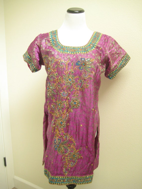 Purple and Green Ladies Tunic/ Vintage Bohemian Boho Top/ Hippie Dress/ Indian Blouse