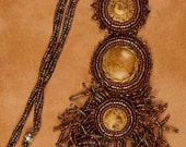 Brown Bead Embroidered Necklace
