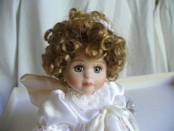 Cute Porcelain Angel Doll With Green Eyes and Light Brown Hair - CIJ