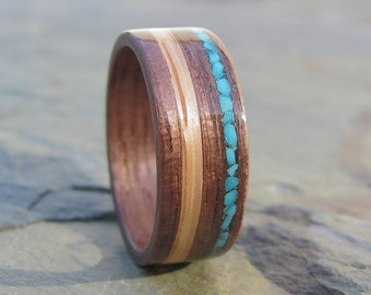 Walnut Handcrafted Wooden ring with Turquoise and Oak Inlay