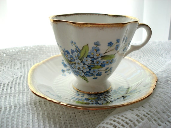 Vintage Royal Adderley Teacup Forget Me Nots Blue Royal Imperial
