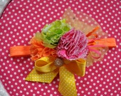 Summer Fizz couture fabric flower headband in bright colors newborn to adult