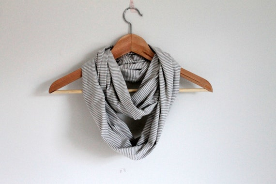 Infinity scarf, grey and white stripe, circle scarf, loop scarf