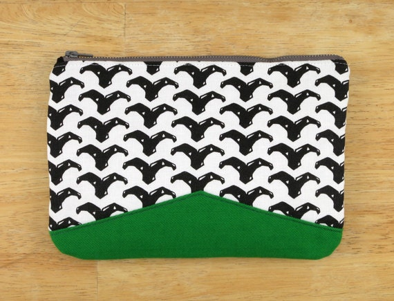 Whale Tale Clutch, Hand Screened Original Pattern, Black Print on White Linen, Fern Green Denim back, All natural fabrics