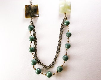 OOAK Necklace - Jade and Antique Brass Necklace - Not Your Grandma's Jade