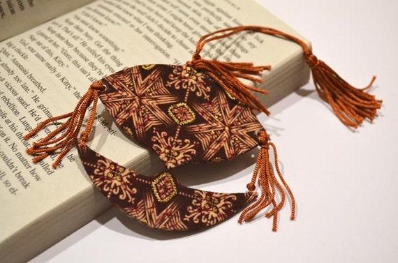Malaysian Traditional Kite: Brown Wau Bulan Fabric Bookmark