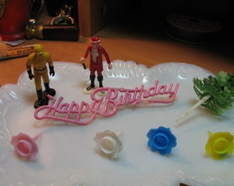 Vintage Cake Figurines, Happy Birthday, Tree, Candle Holder, Cake Topper / Red Blue Yellow Pink Toys / Collectible Cake Decor B1b43