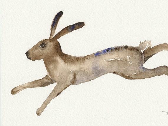 Hare, Animal art, original watercolor painting, watercolor painting art.